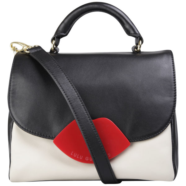 Lulu Guinness Small Izzy Leather Satchel - Black/Stone