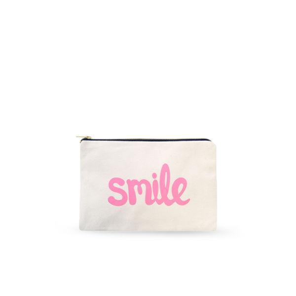 Alphabet Bags 'Smile' Canvas Pouch - Cream