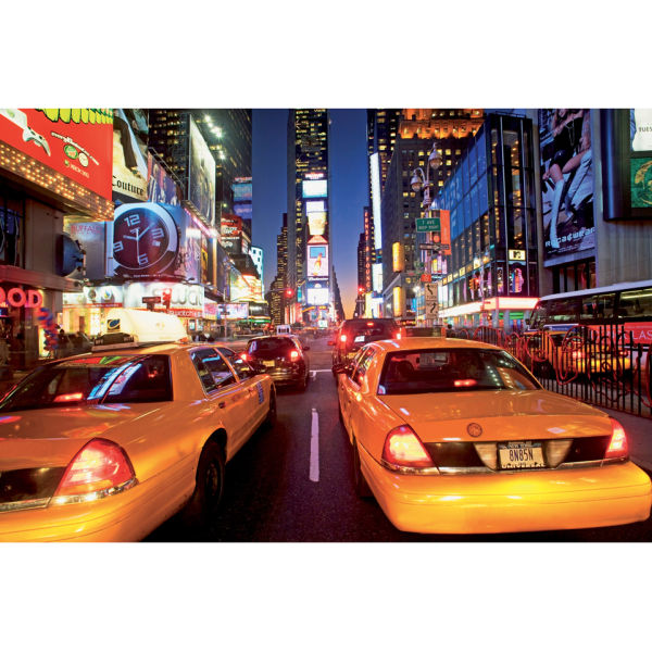 New York Times Square In Bright Lights And Yellow Cabs