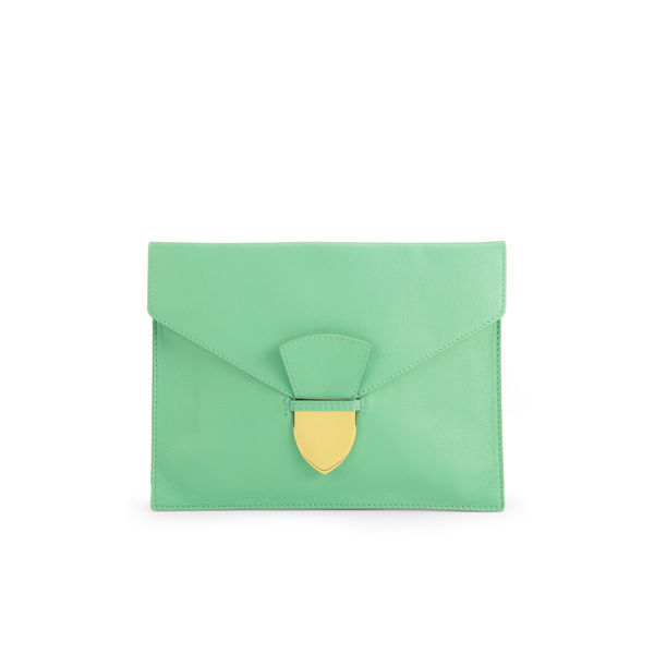 Sophie Hulme Large Spear Tab Leather Pouch - Fluro Green