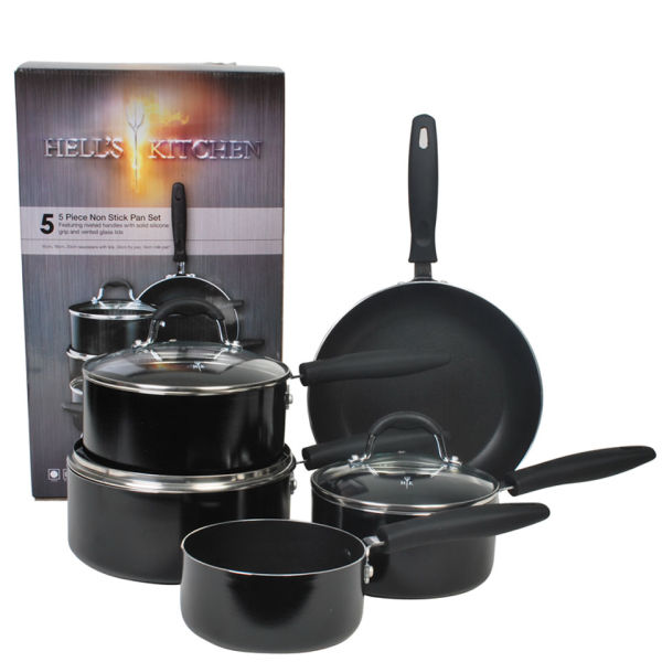 Hell 39 s kitchen eclipse 5pc black aluminium non stick pan for Kitchen set aluminium