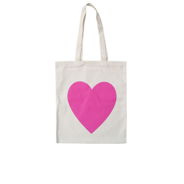 Alphabet Bags 'Heart' Tote Bag - White/Pink