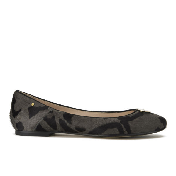 Jerome Dreyfuss Women's Aurelie Lips Leopard Print Ballet Pumps - Grey