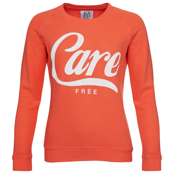 Zoe Karssen Women's Care Free Loose Fit Sweater With Curved Hem - Hot Coral