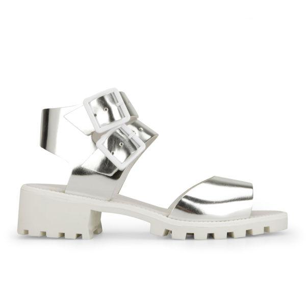 Miista Women's Patti Metallic Leather Sandals - Silver