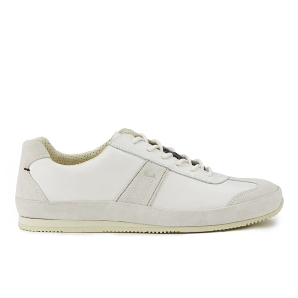Paul Smith Shoes Men S Fuzz Leather Trainers White Mono