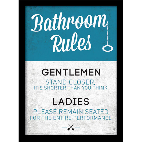 Bathroom Rules Framed 30x40cm Print Homeware Thehut Com