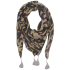 Codello Military Vintage Camouflage print scarf w/ tassels in green-lilac: Image 1