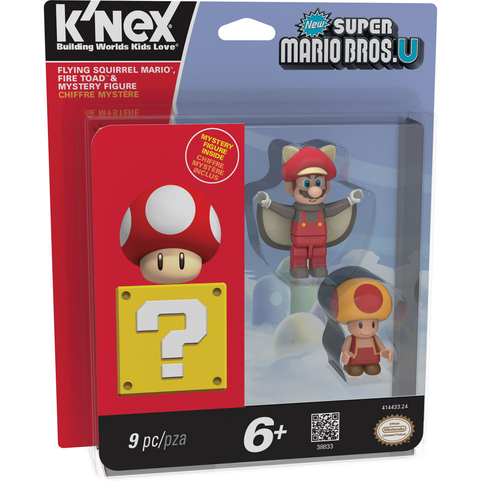 New Super Mario Bros U Flying Squirrel Mario Fire Toad /& Mystery Figure 3-Pack