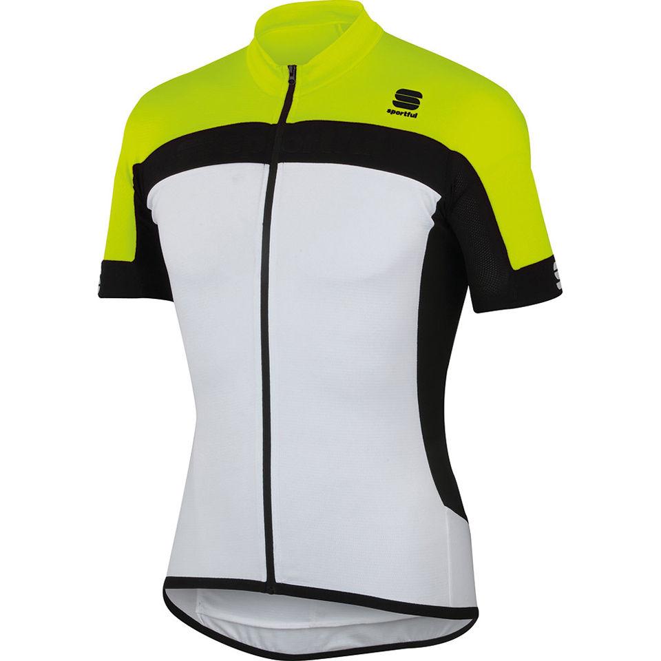Sportful Pista Long Zip Jersey - White Yellow Black  8b14920d4