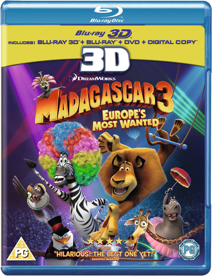 madagascar 3 europes most wanted 3d 3d blu ray 2d blu ray dvd and digital copy blu ray. Black Bedroom Furniture Sets. Home Design Ideas