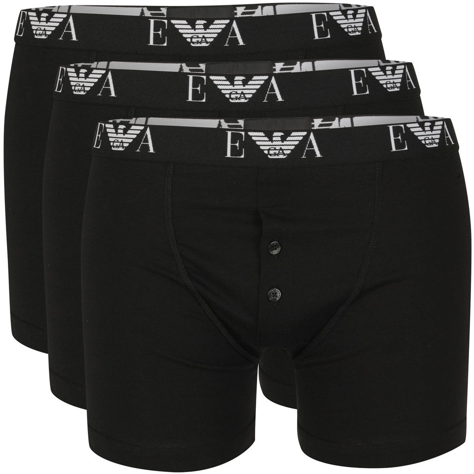 Emporio Armani Men S Button Fly 3 Pack Boxers Black Mens  # Fly Meubles Audio Bois