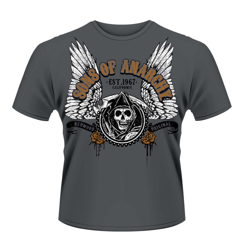 sons of anarchy men 39 s t shirt winged reaper merchandise. Black Bedroom Furniture Sets. Home Design Ideas