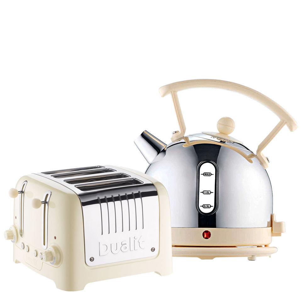 Dualit Dome Kettle and 4 Slot Toaster Bundle Cream Homeware