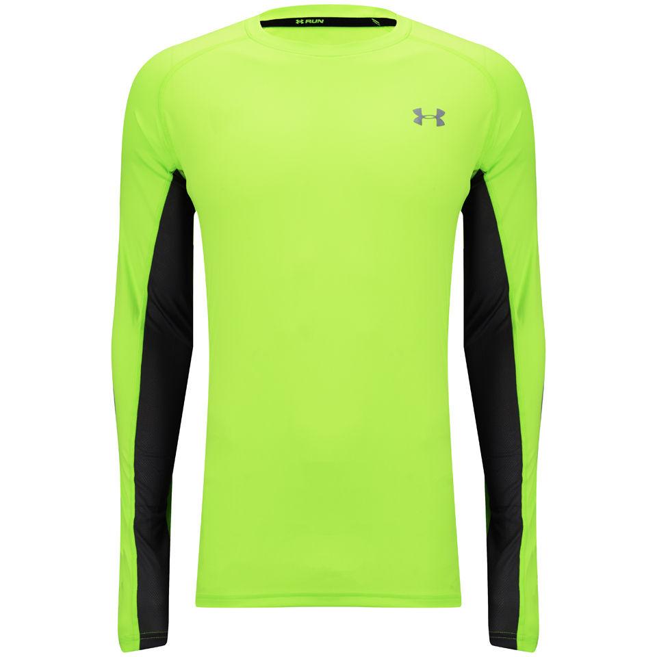 85328d0df8 Under Armour Men's Heatgear Flyweight Long Sleeve Running T-Shirt - Hyper  Green/Reflective