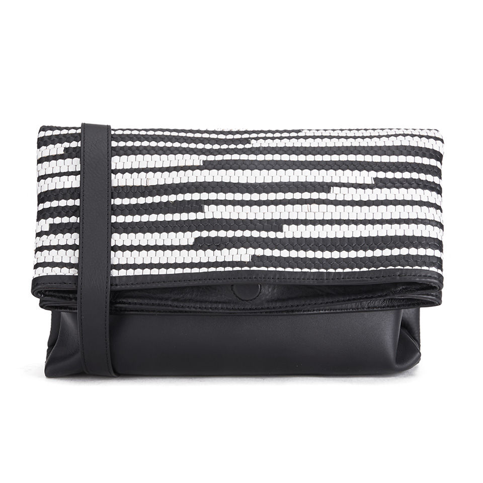 French Connection Womens Monochrome Woven Leather Clutch Bag Orla Black White