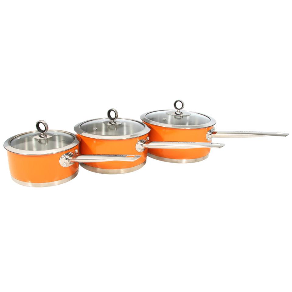 Morphy richards accents 3 piece pan set orange iwoot for Kitchen set orange
