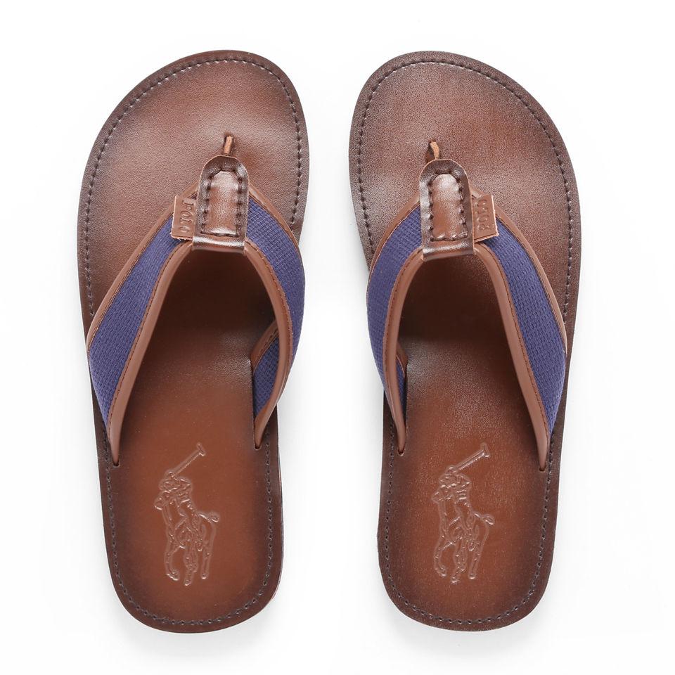 7c1e874f60f Polo Ralph Lauren Men s Sullivan Leather Webbing Flip Flops - Navy Brown
