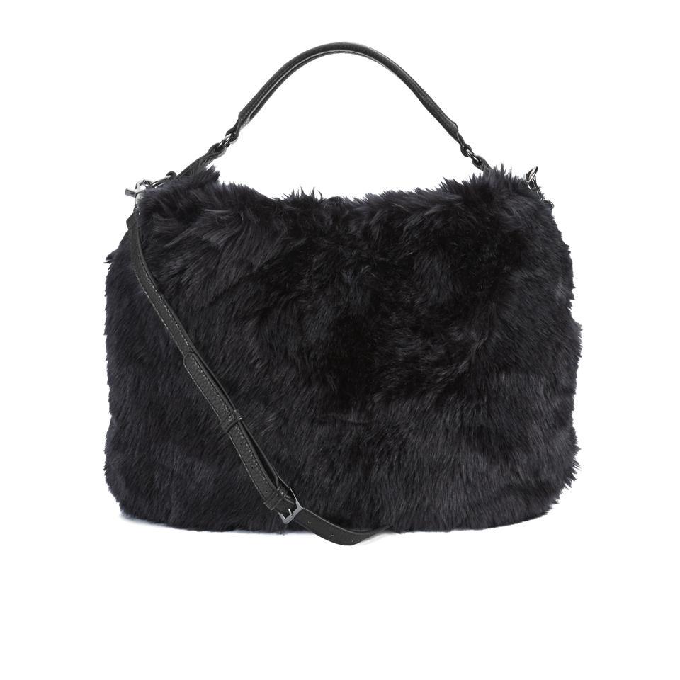 fiorelli womens kayla faux fur hobo black