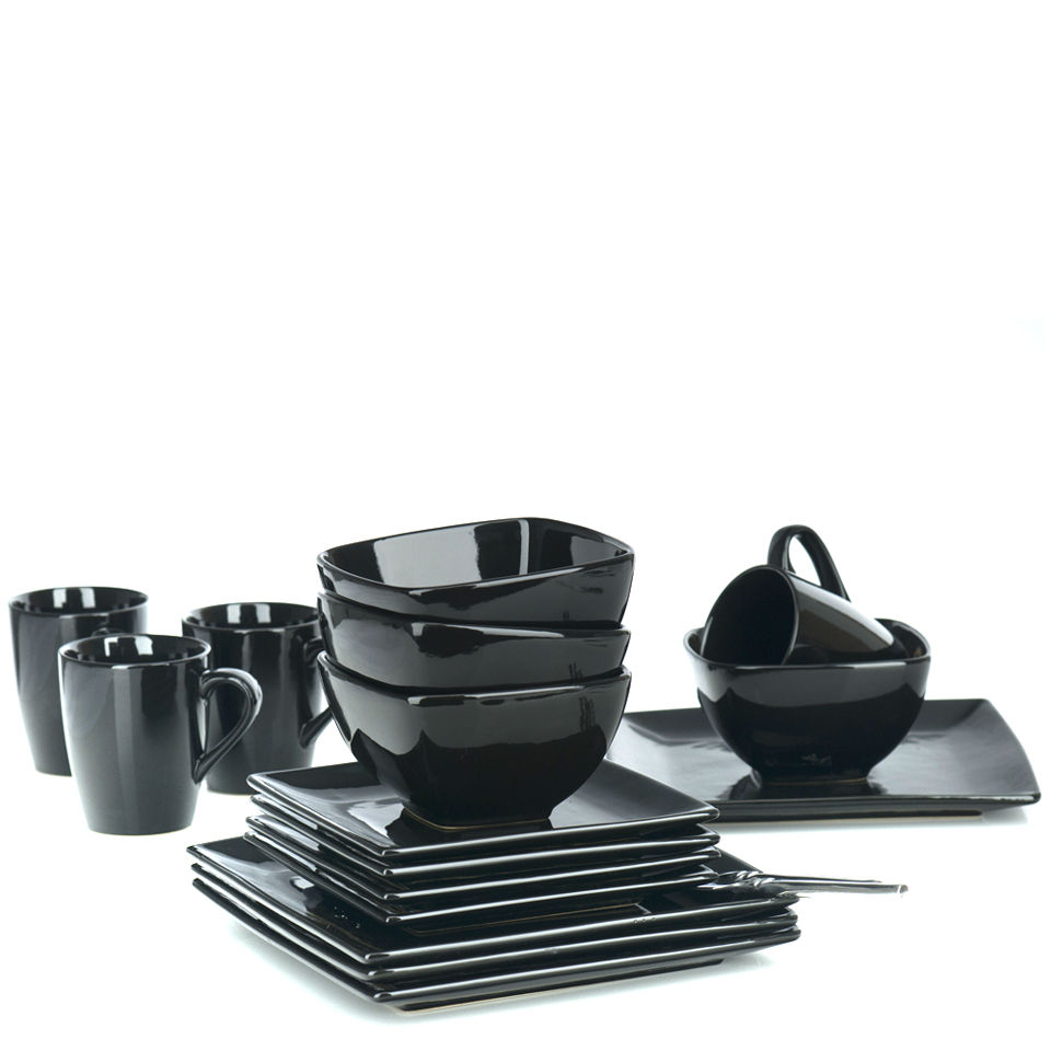 Bon Diffusion 16 Piece Square Dinner Set   Black Homeware | TheHut.com