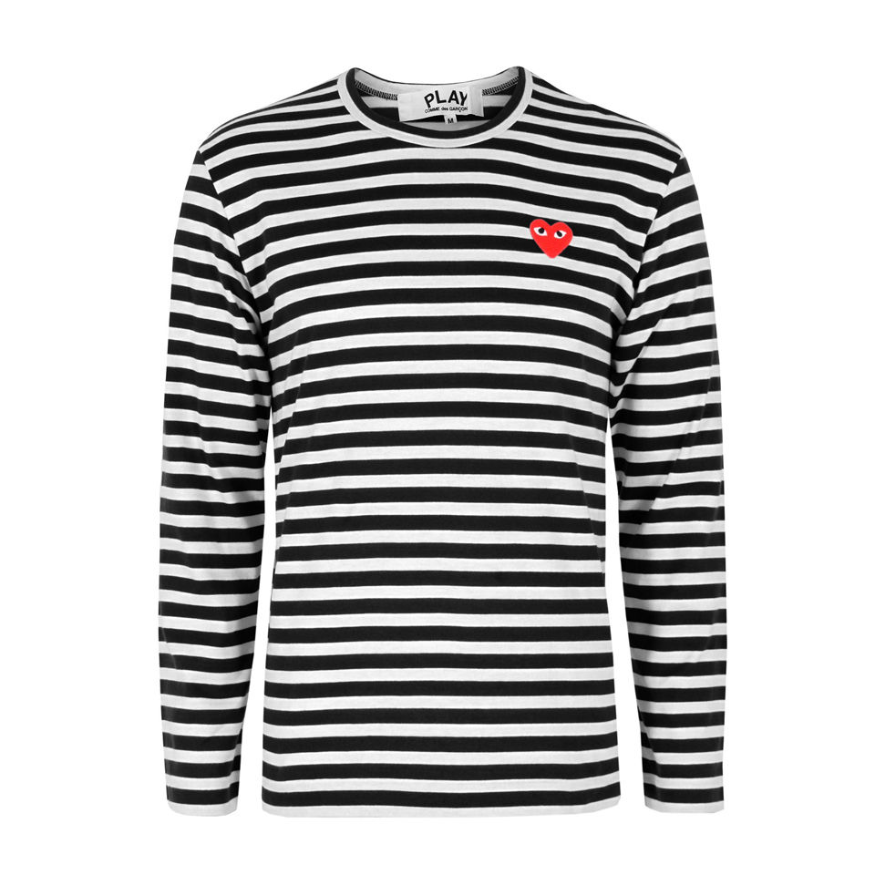 comme des garcons play men 39 s t164 stripe t shirt black. Black Bedroom Furniture Sets. Home Design Ideas