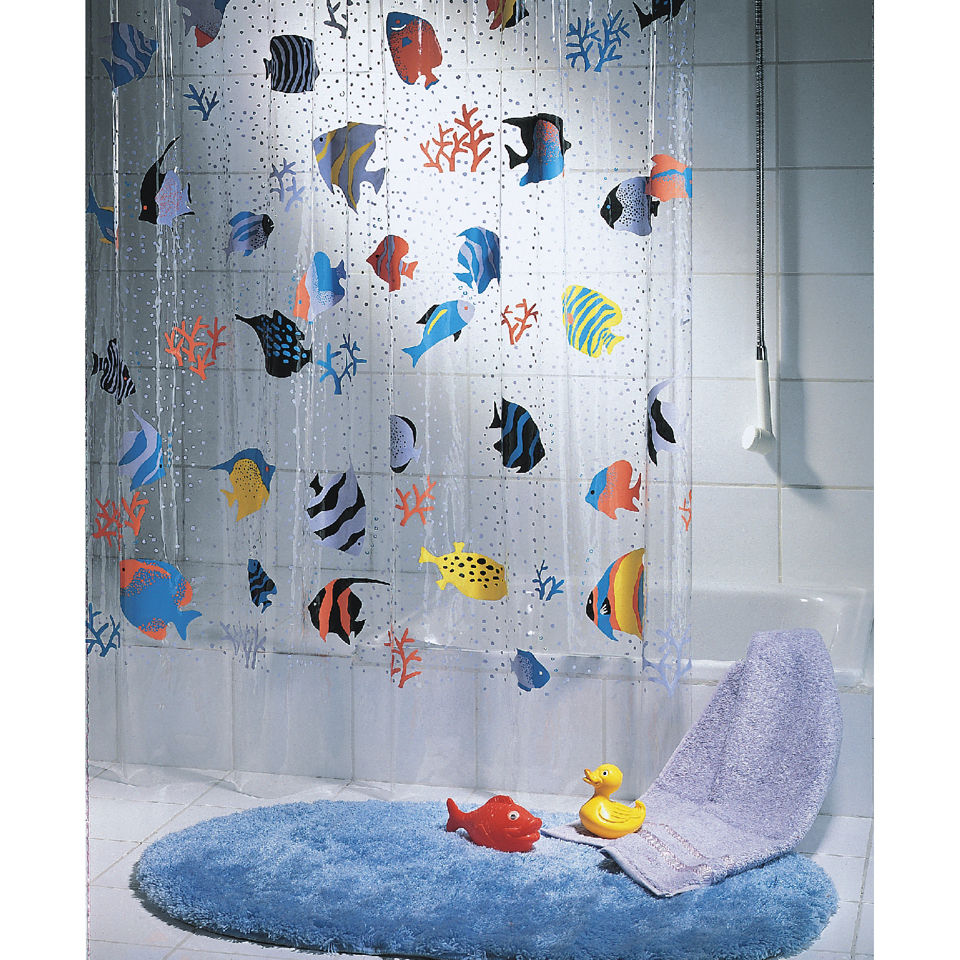fish shower curtain spirella fish multicolour shower curtain iwoot 10383