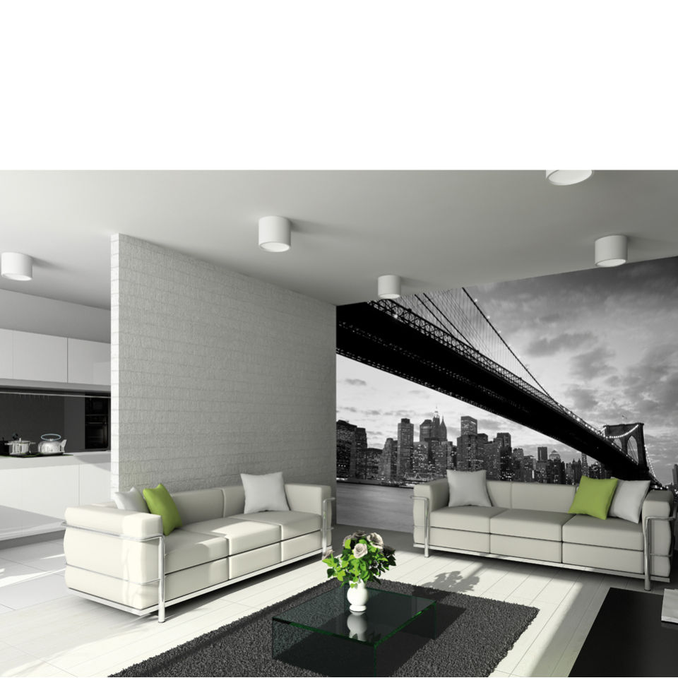 New york 39 s brooklyn bridge and city skyline wall mural iwoot for City scape wall mural