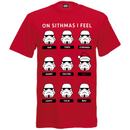Star Wars Men's Stormtrooper Emotions Christmas T-Shirt - Red
