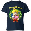 Nintendo Super Mario Peach Merry Christmas Kids' T-Shirt - Navy