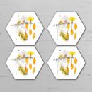 Yellow Pressed Flowers Hexagonal Coaster Set