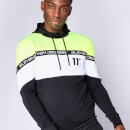 Men's Cut And Sew Colour Block Poly Track Top With Hood - Black/Neon Lime/White