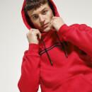 Men's Chest Stripe Pullover Hoodie - Inferno/Black