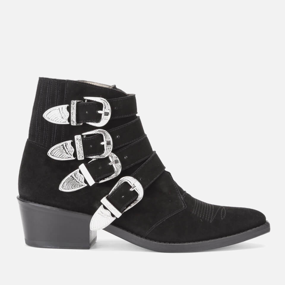 bac92746641672 Toga Pulla Women s Buckle Side Suede Heeled Ankle Boots - Black