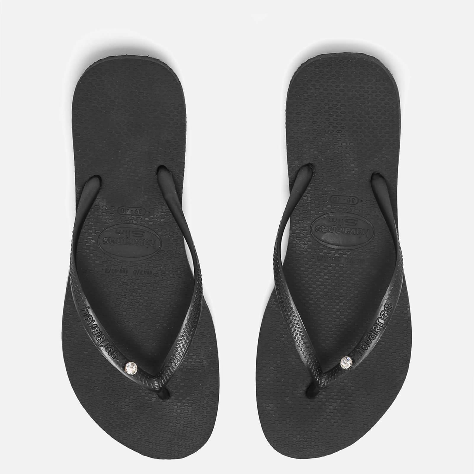 8d47158b4835 Havaianas Women s Slim Swarovski Crystal Glamour Flip Flops - Black ...