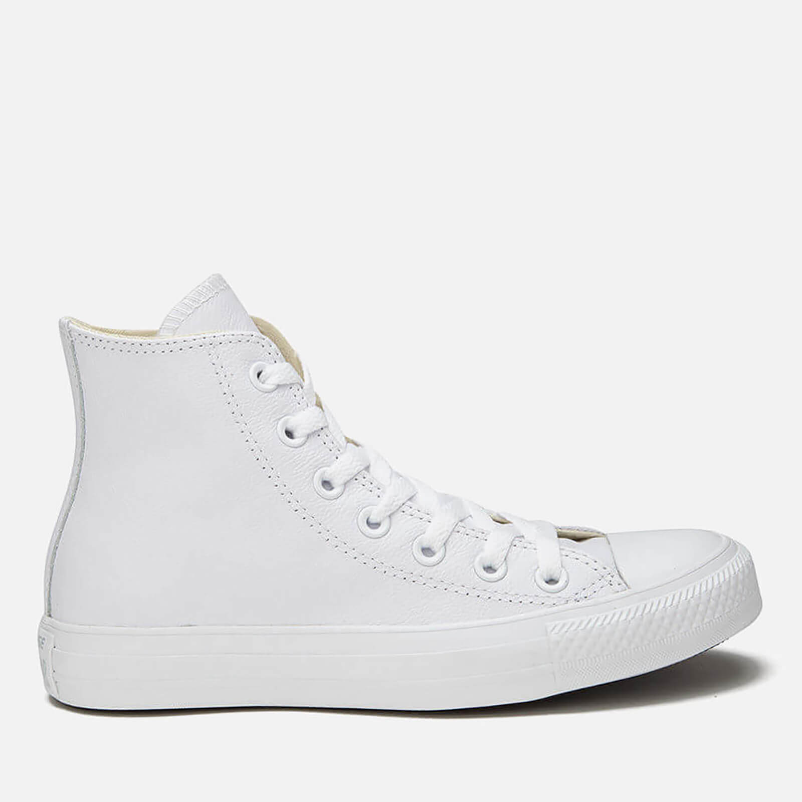 542b48dc3a6ee Converse Unisex Chuck Taylor All Star Leather Hi-Top Trainers - White  Monochrome