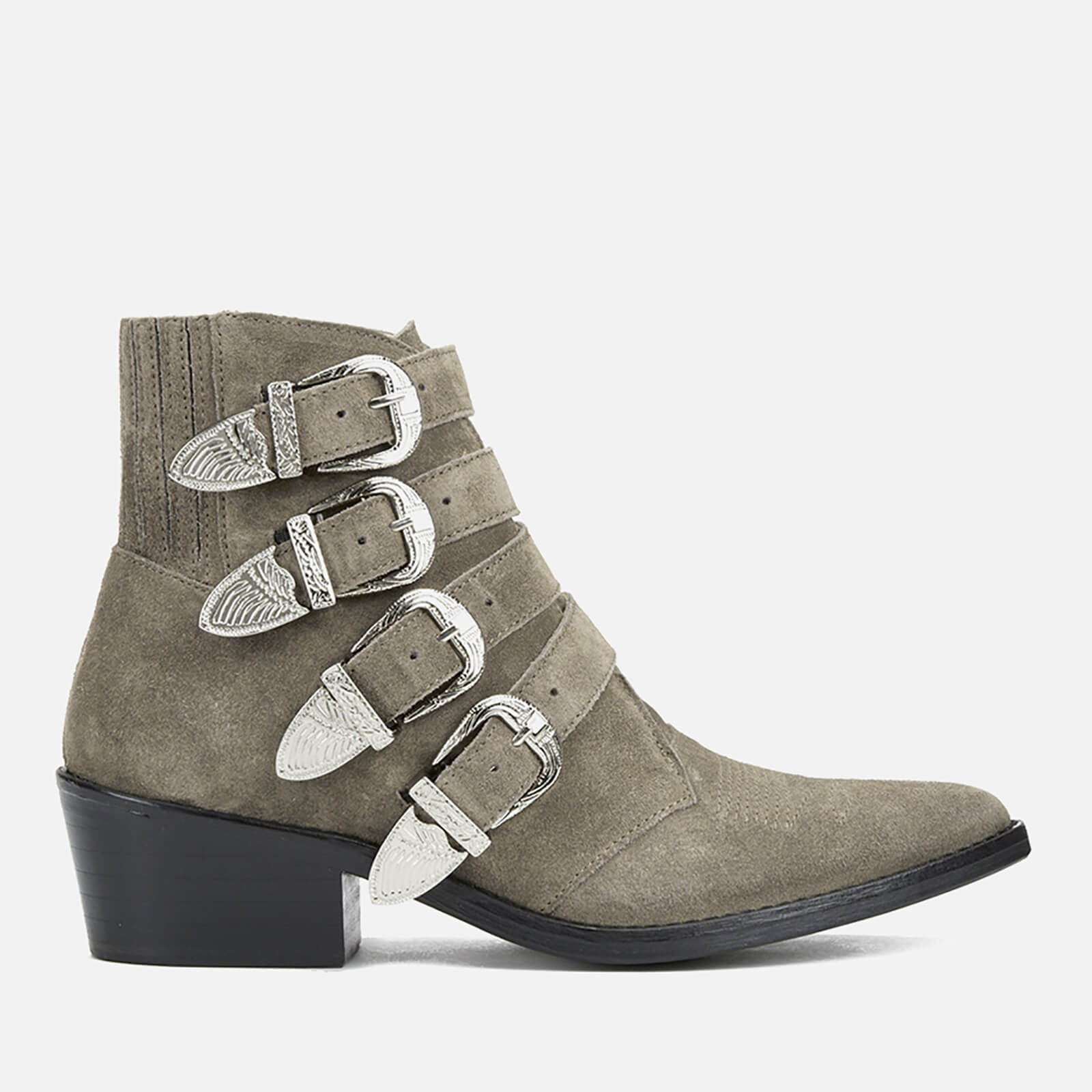 df92ed69beac9f Toga Pulla Women s Buckle Side Suede Heeled Ankle Boots - Khaki Suede