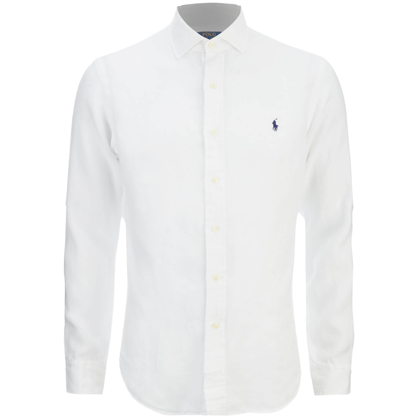 Polo Ralph Lauren Men\u0027s Slim Fit Long Sleeve Linen Shirt - White - Free UK  Delivery over �50
