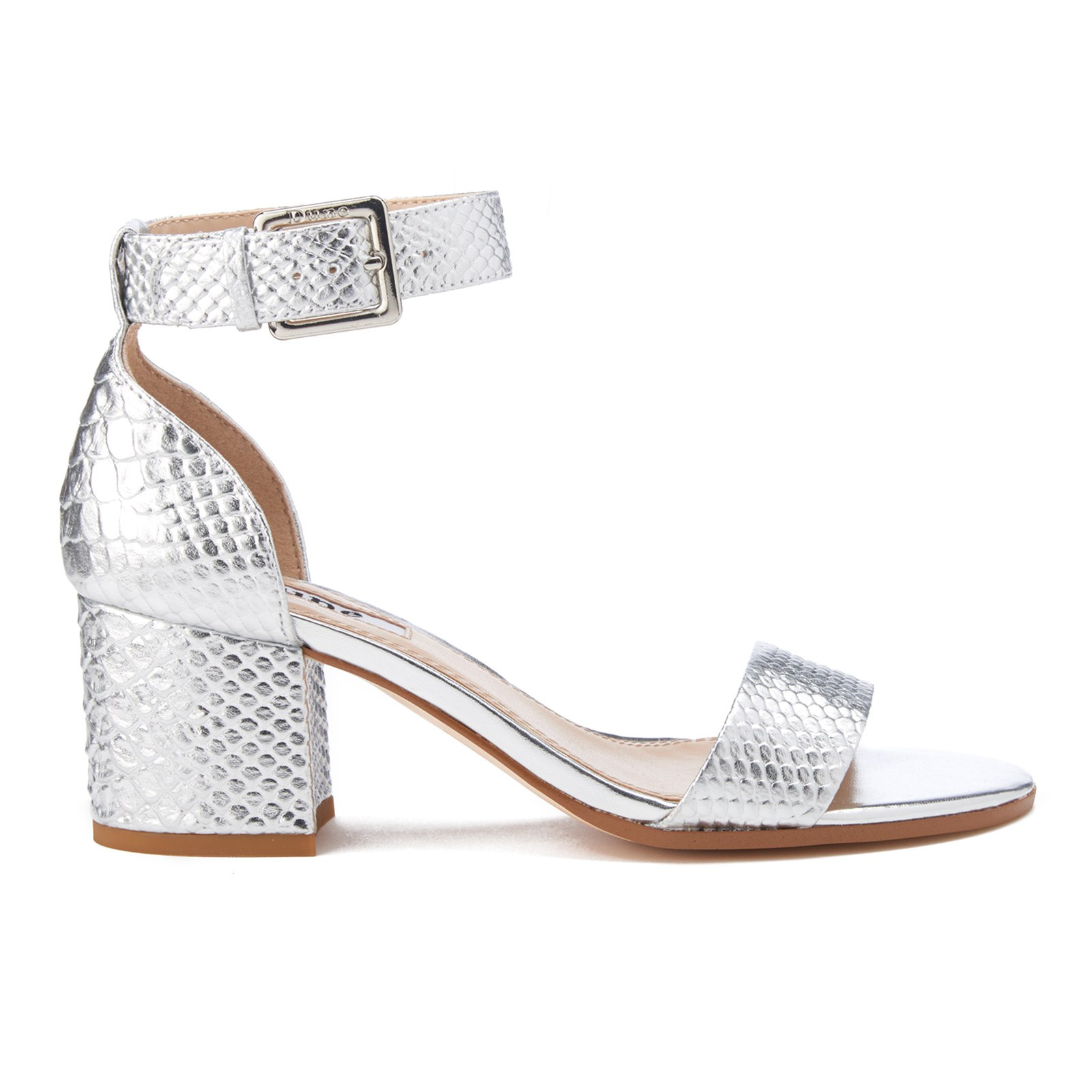 Dune Women's Jaygo Barely There Blocked Heeled Sandals Silver Reptile