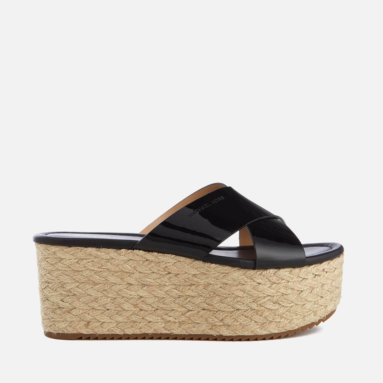 Black mk sandals - Michael Michael Kors Women S Vivianna Slide Wedged Sandals Black Patent