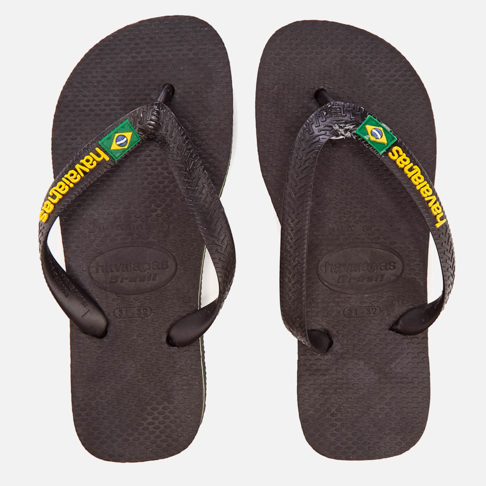 bf9b351625d95 Havaianas Kids  Brasil Logo Flip Flops - Black
