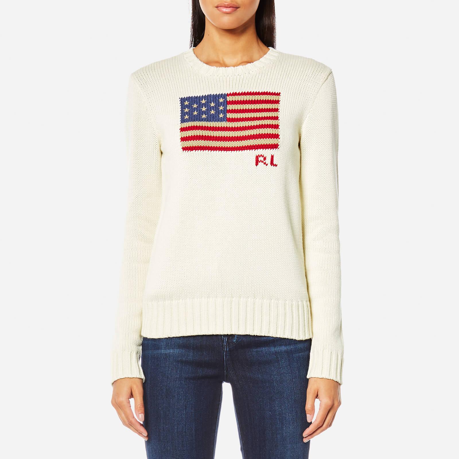 8b6e539ba93e Polo Ralph Lauren Women s Crew Neck Flag Jumper - Cream Multi