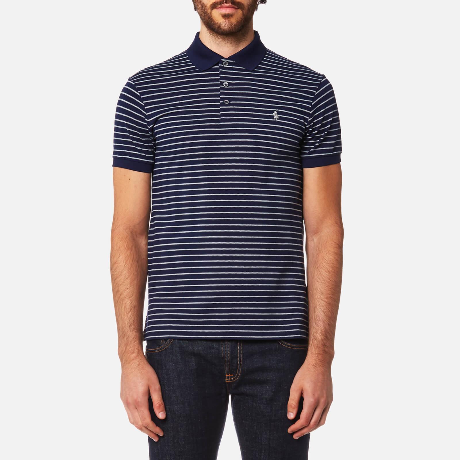 Polo Ralph Lauren Mens Stretch Mesh Stripe Polo Shirt French Navy