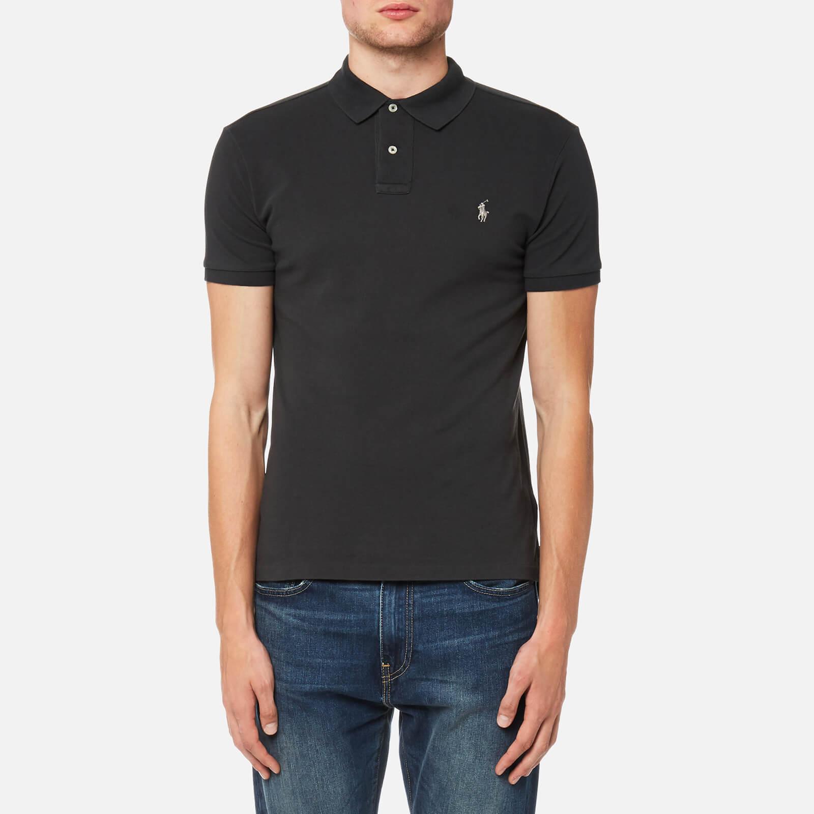 Polo Ralph Lauren Mens Slim Fit Mesh Polo Shirt Dark Carbon Grey