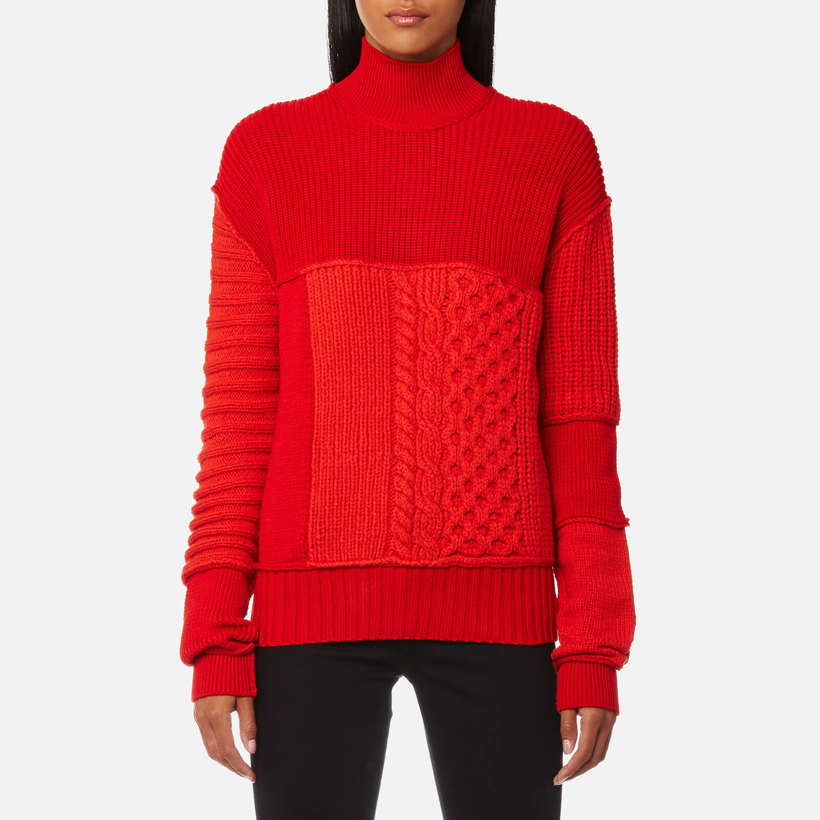 65f41f04e03 McQ Alexander McQueen Women s Cable Mix Crop Jumper - Electric Red