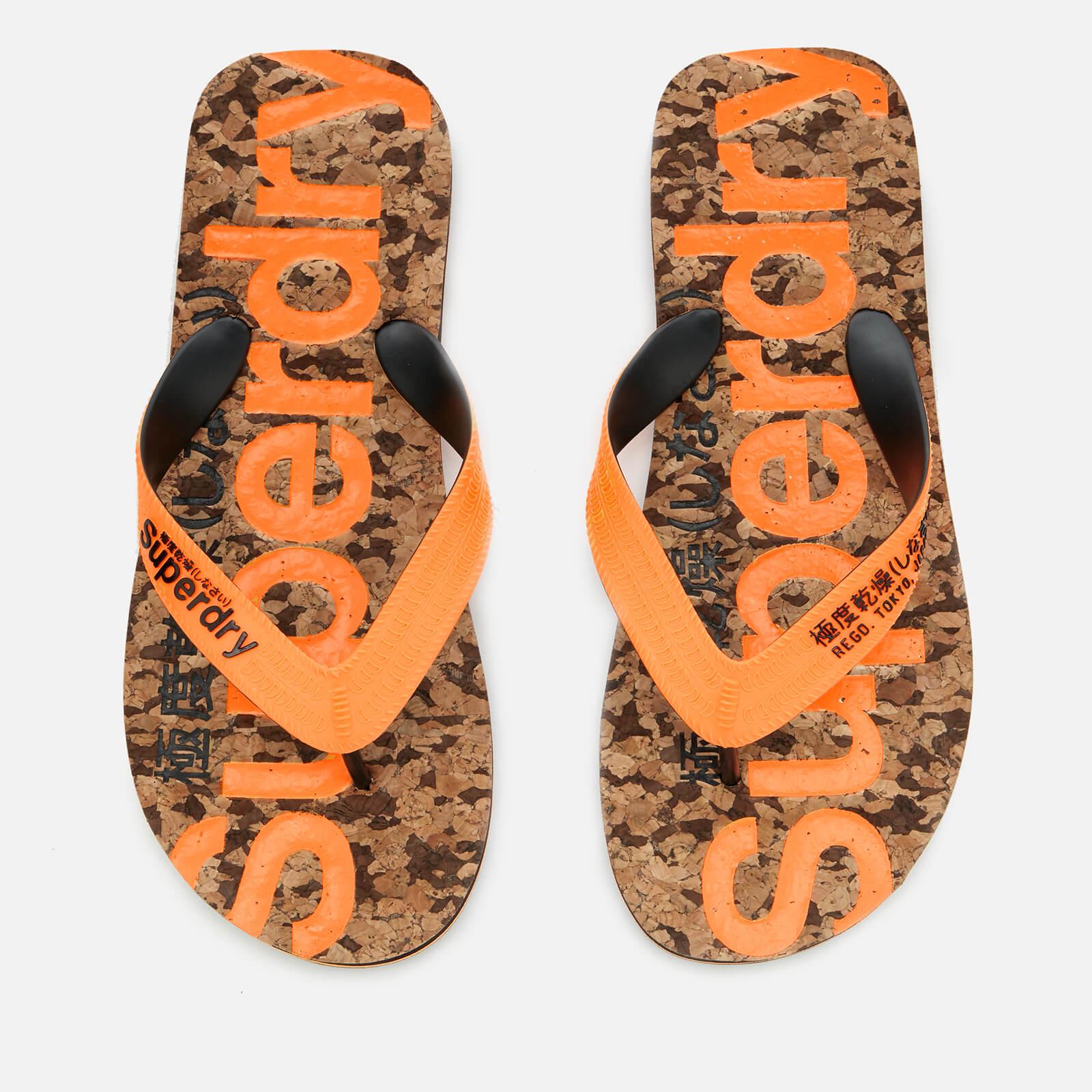 9b2f7943c68 Superdry Men s Cork Flip Flops - Black Fleck Fluro Orange