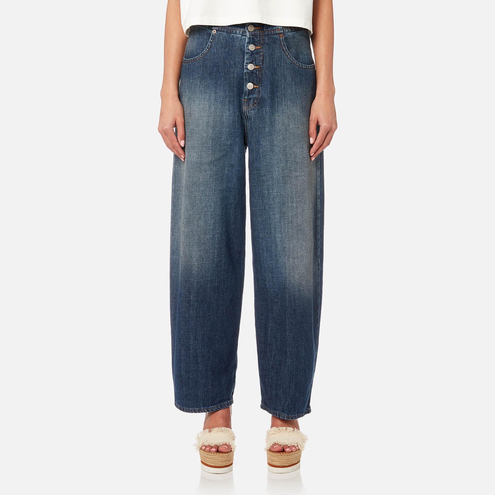 MM6 Maison Margiela Women's Button Fly Jeans - Medium Blue