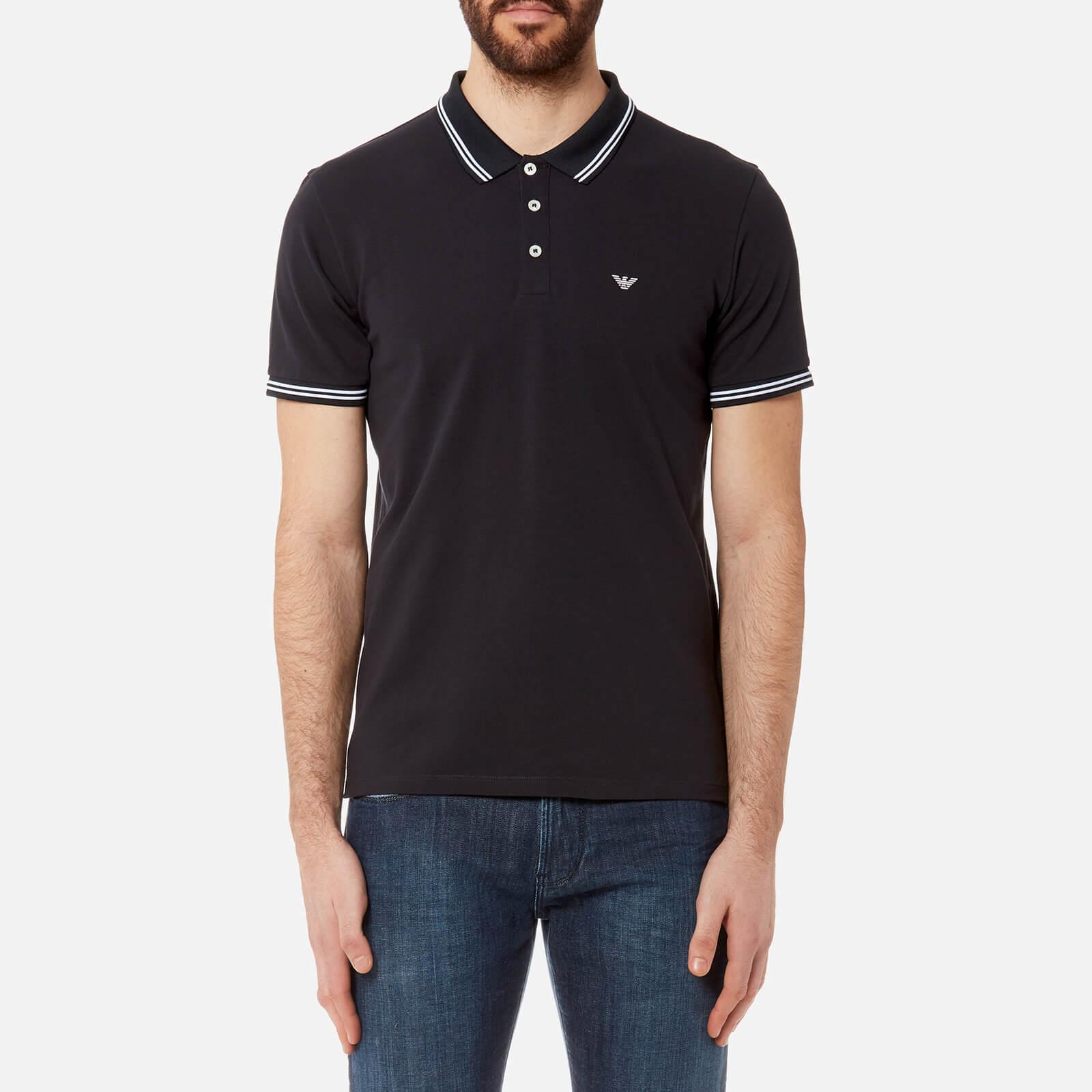 Emporio Armani Mens Tipped Polo Shirt Blue Scuro Free Uk
