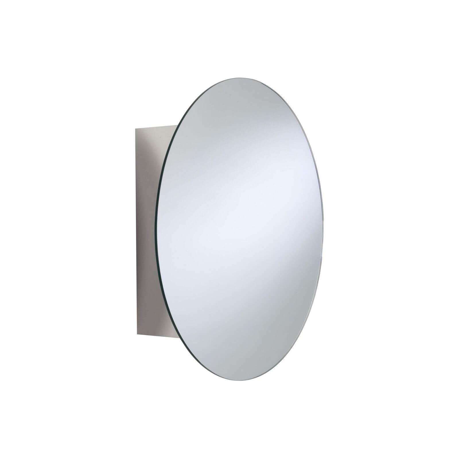 Croydex Missouri Round Mirror Door Cabinet Stainless Steel Homebase