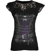 Spiral Women's WAISTED CORSET Lace Layered Cap Sleeve Top - Black