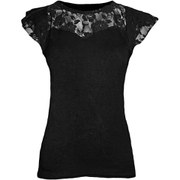 Spiral Women's GOTHIC ELEGANCE Lace Layered Cap Sleeve Top - Black